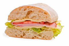 Ham, cheese and tomatoes sandwich Royalty Free Stock Image