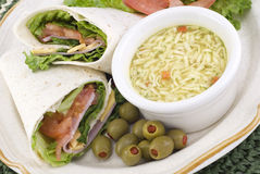 Ham and Cheese Wrap with Soup Royalty Free Stock Images