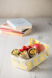 Ham and cheese wraps in lunch box Stock Image