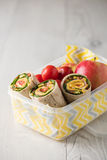 Ham and cheese wraps in lunch box Royalty Free Stock Image