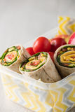 Ham and cheese wraps in lunch box Royalty Free Stock Photos