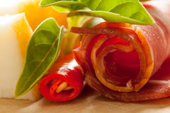Ham and chili pepper with cheese Royalty Free Stock Images