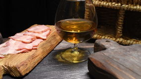 Ham, cigar and brandy stock video