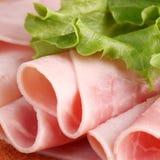 Ham. Close-up of ham and lettuce stock photos
