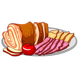 Ham, cold cuts on a platter Royalty Free Stock Images