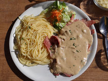 Ham with cream sauce and pasta Royalty Free Stock Photo