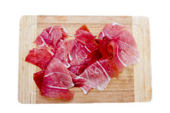 Ham on cutting board top Royalty Free Stock Photo