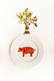 Ham on a dish and tree stock photography