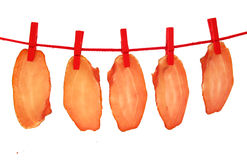Ham dried meat drying on clothes line Stock Photo