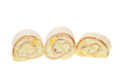 Ham and egg bread wraps Stock Image