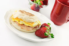 Ham Egg and Cheese English Muffin Royalty Free Stock Images