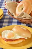 Ham egg and cheese sandwich on a bagel Stock Photos
