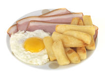 Ham Egg and Chips Stock Photography