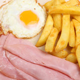 Ham, Egg & Chips. Ham with fried egg and chips Royalty Free Stock Images