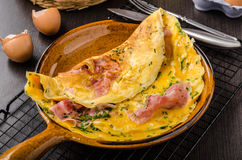 Ham and egg omelette royalty free stock photos