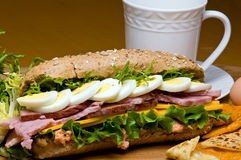Ham and Egg Sandwich. Ham and boiled eggs sandwich Stock Images