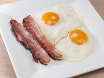 Ham and Eggs. Typical breakfast with fried ham and eggs Stock Photo