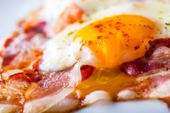 Ham and Eggs. Bacon and Eggs. Salted egg and sprinkled with red pepper. English breakfast Royalty Free Stock Photo