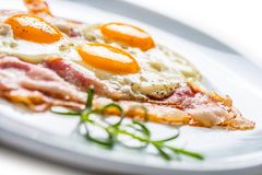 Ham and Eggs. Bacon and Eggs. Salted egg with pepper on white pl Stock Photo