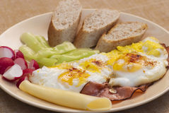 Ham and eggs. Breakfast. Food concept Stock Images