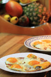 Ham and eggs fried Stock Image