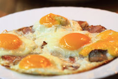 Ham and eggs fried. As gourmet breakfast Royalty Free Stock Photography