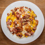 Ham and eggs on plate Royalty Free Stock Images