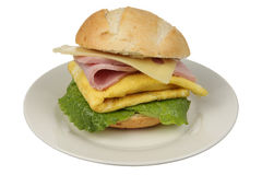 Ham and Eggs Sandwich. On white background Stock Photo