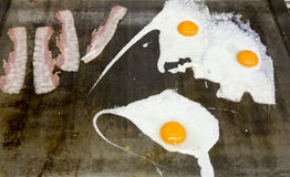 Ham and eggs. With yellow up Royalty Free Stock Images