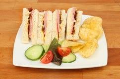 Ham en groenten in het zuursandwiches Stock Afbeelding