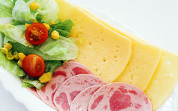 Ham en kaas met salade Royalty-vrije Stock Foto
