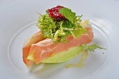Ham en Meloensalade Royalty-vrije Stock Foto's