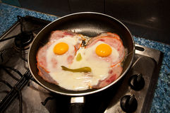Ham end eggs. To fry pan Royalty Free Stock Image