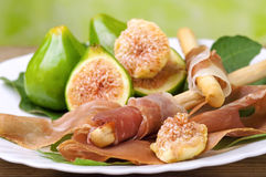 Ham and figs Stock Image