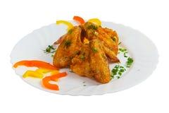 Ham food roast dish chicken isolated on white Stock Photos