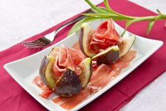 Ham with fresh fig Stock Photography