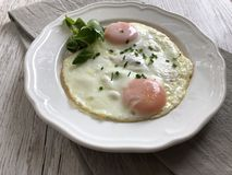 Ham and fried eggs royalty free stock images
