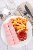 Ham, fries and ketchup Stock Photography