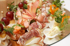 Ham and fruits Stock Photography