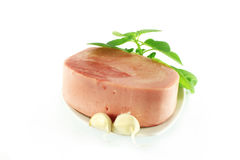 Ham and garlic Stock Photography