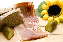 Ham with gherkin and sunflower Royalty Free Stock Image