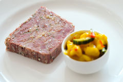 Ham hock with piccalilli Stock Photo