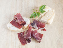 Ham iberian. Portions of ham iberian typical of Spain Stock Photo
