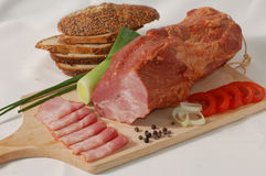 Ham In Slices And Many Vegetables Stock Photo