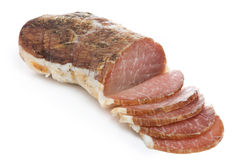 Ham isolated on white. Dry ham isolated over white background Stock Photography