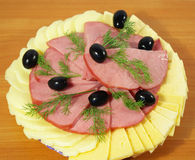 Ham, kaas, olijven Royalty-vrije Stock Foto
