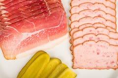 Ham and leberkaese, Bavarian cuisine Stock Photo