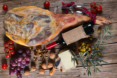Ham leg and traditional spanish tapas Stock Photos