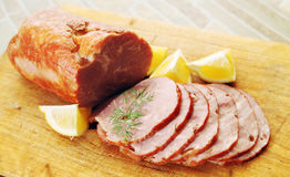 Ham with lemon Royalty Free Stock Photos