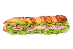 Ham and lettuce baguette sandwich Stock Photography